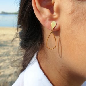 Medium oval gold plated oorbellen