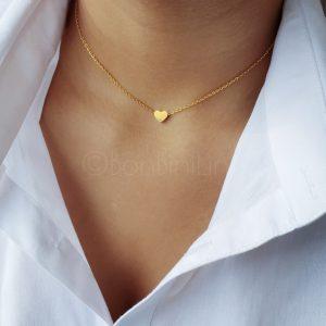 Gold heart plated ketting + heart bar armband (€10 ,- combivoordeel)