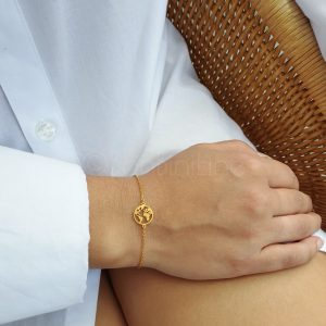 Wereldbol gold plated armband