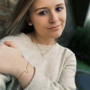 Gold plated V armband + ketting (€6,- combivoordeel)