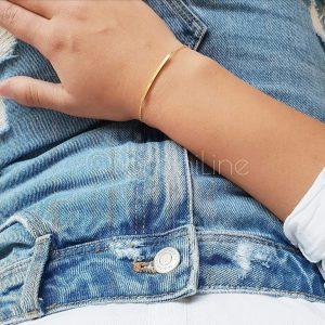 Curved bar gold plated bracelet