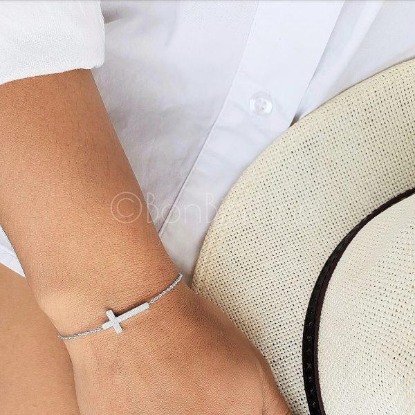 kruis nieuw armband zilver