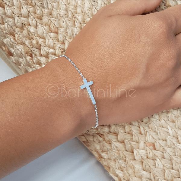Kruis armband dames zilver subtiel