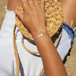 Cross silver plated bracelet