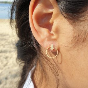 circle small detail gold plated earrings